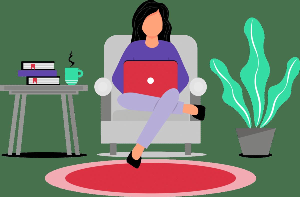 vrouw werkt van thuis uit, laptop, plant, creatief ondernemerschap in coronatijden